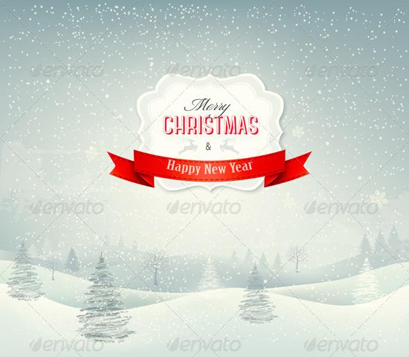 Holiday Christmas Background with Winter Landscape - Christmas Seasons/Holidays