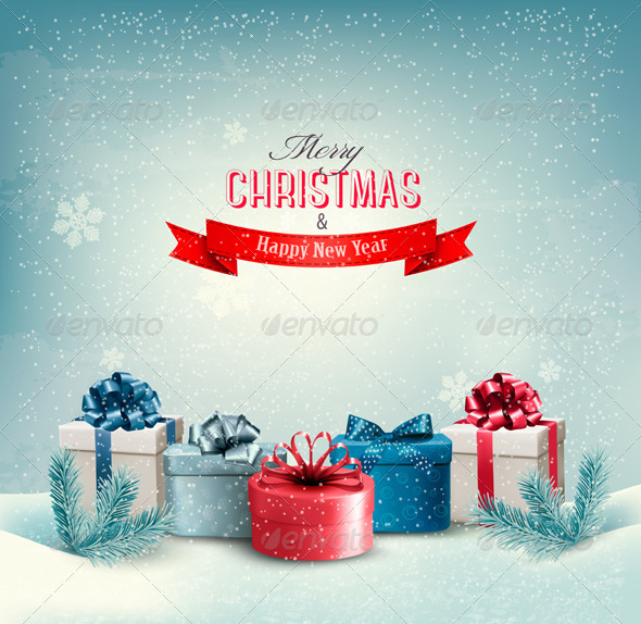 Christmas Holiday Background with Presents - Christmas Seasons/Holidays