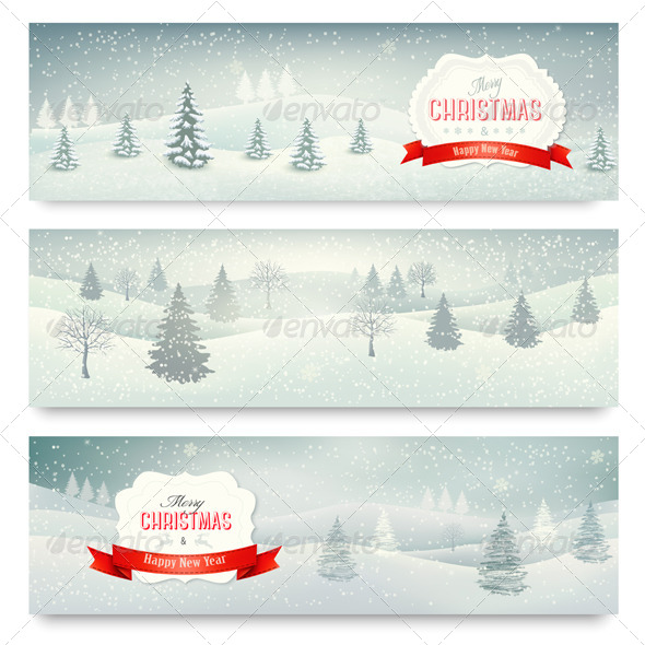Three Christmas Holiday Landscape Banners - Christmas Seasons/Holidays