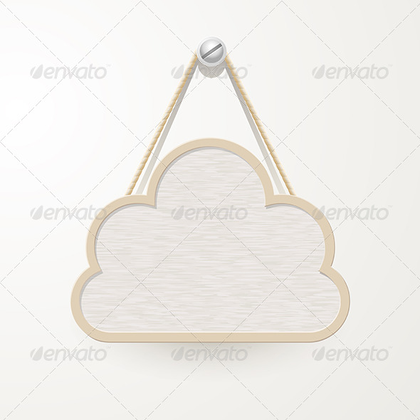 Cloud Wooden Plate Hanging a Nail - Borders Decorative
