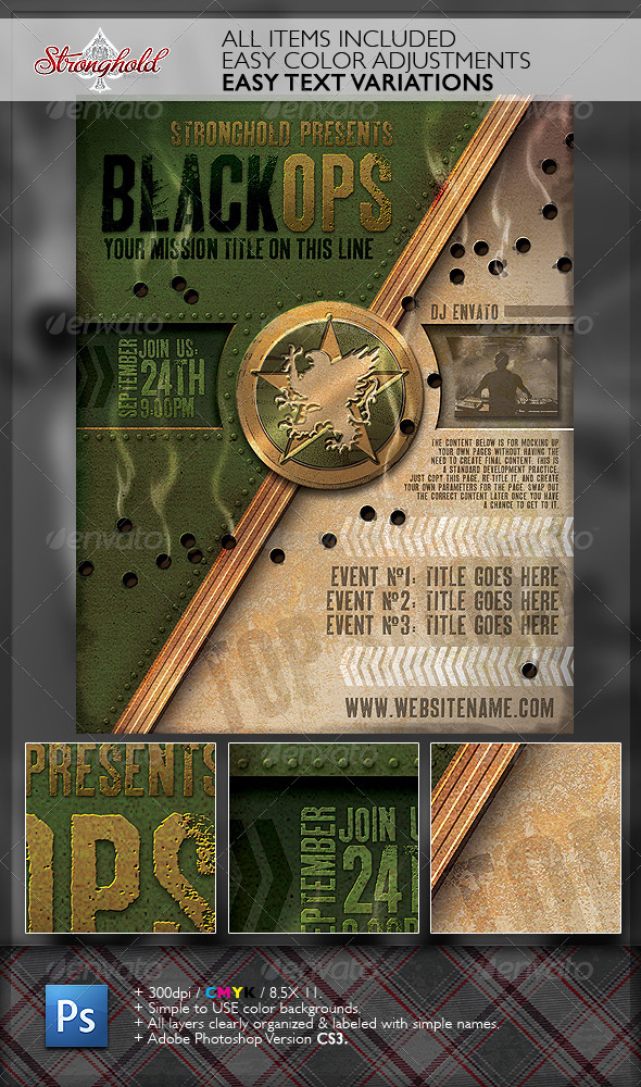 vintage black ops military crest flyer template by getstronghold