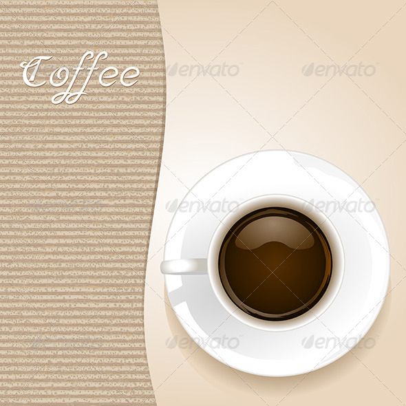 Cup of Coffee on Brown Background - Food Objects