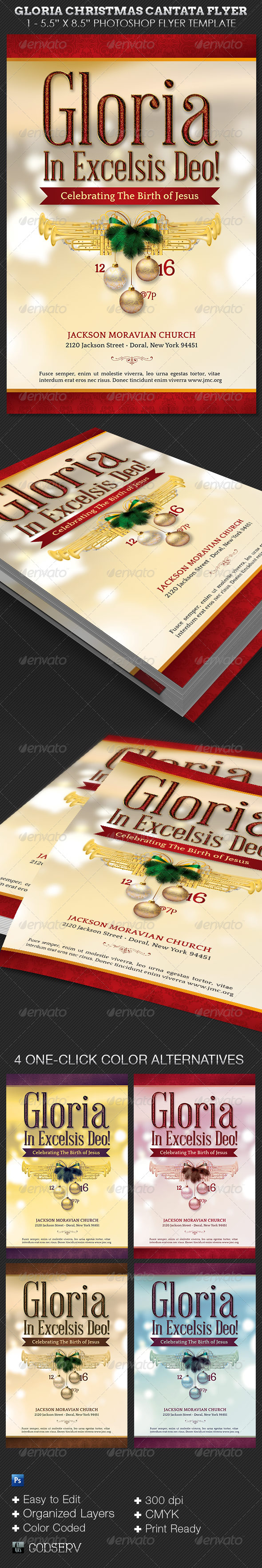 Gloria Christmas Cantata Flyer Template - Church Flyers