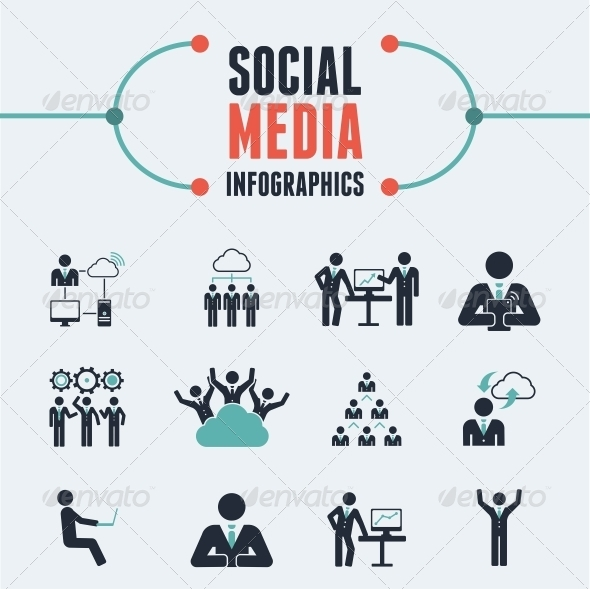 Social Media Infographic Template - Web Elements Vectors