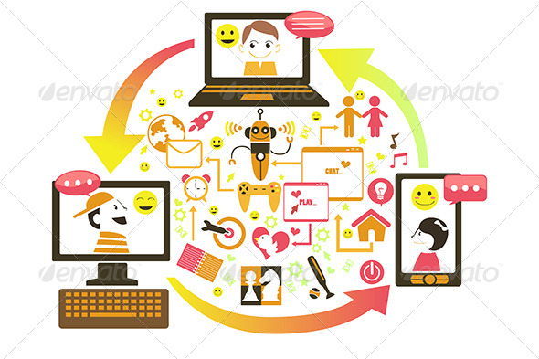 Social Gaming Concept - Technology Conceptual