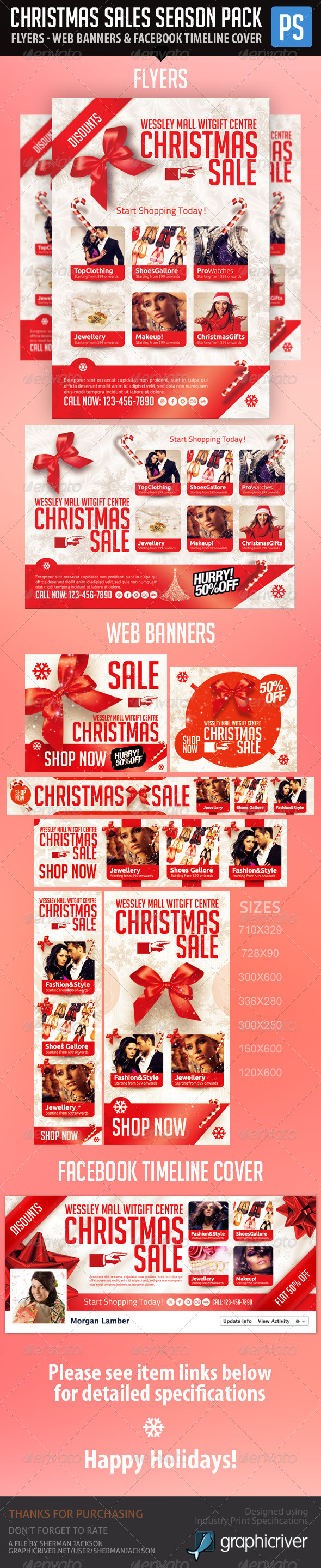Christmas & Winter Season Sales Pack (Bundle) - Miscellaneous Print Templates