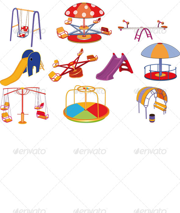 Children's Swing Cartoon Set - Objects Vectors