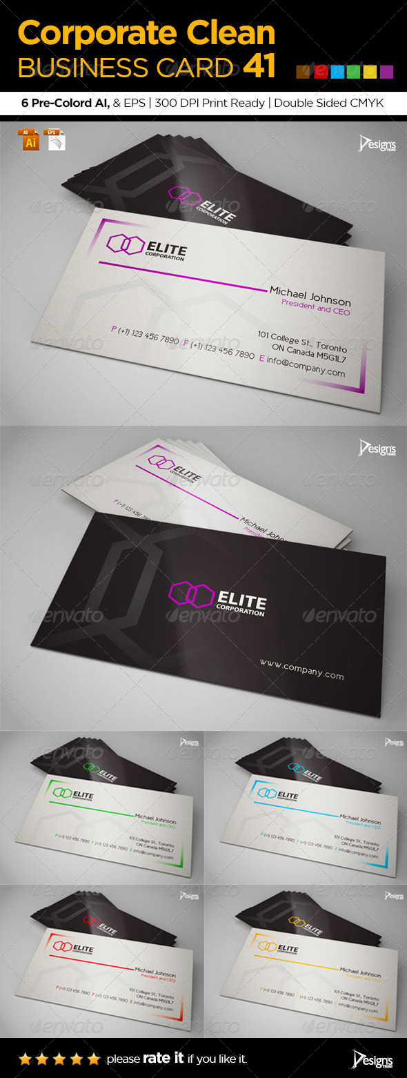 Corporate Clean Business Card 41 - Corporate Business Cards