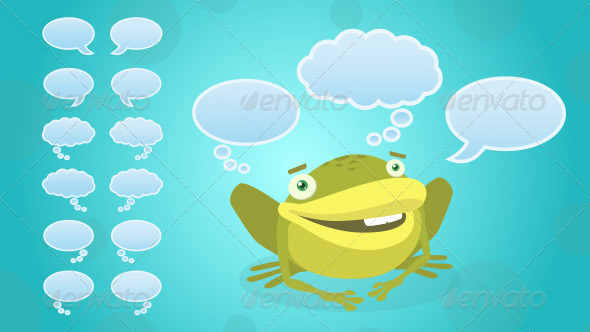 Frog with Face Expressions and Speech Bubbles - Animals Characters
