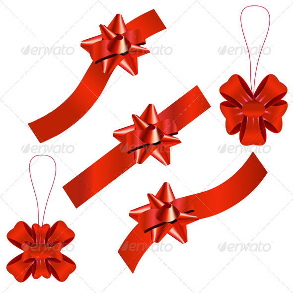 Set of Festive Ribbons and Bows - Seasons/Holidays Conceptual