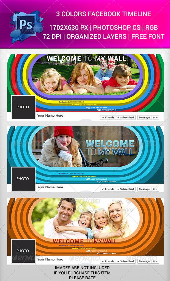 3 Colors Facebook Timeline  PSD - Facebook Timeline Covers Social Media