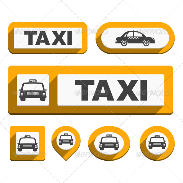 Taxi Buttons and Icons - Travel Conceptual