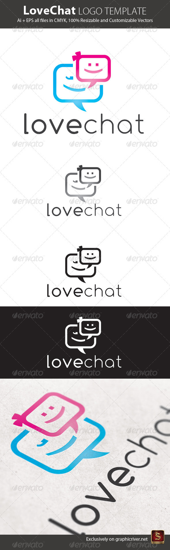 Love Chat Logo Template - Vector Abstract