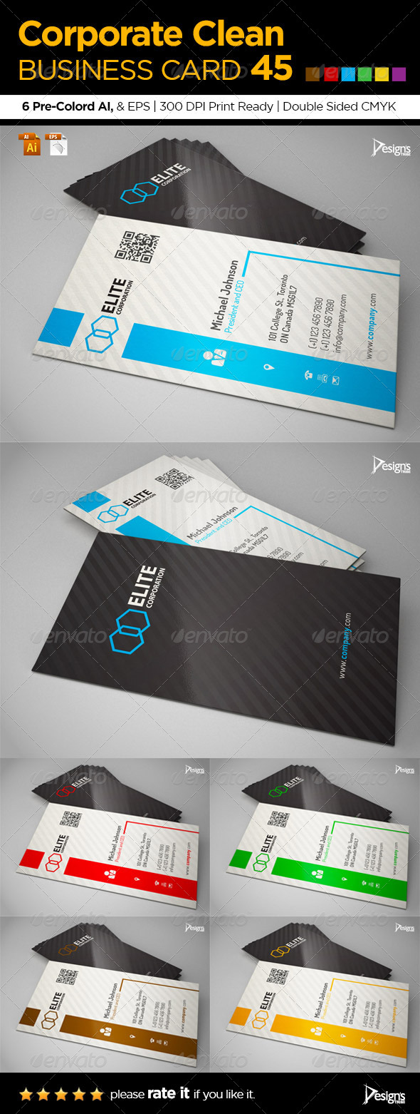 Corporate Clean Business Card 45 - Corporate Business Cards