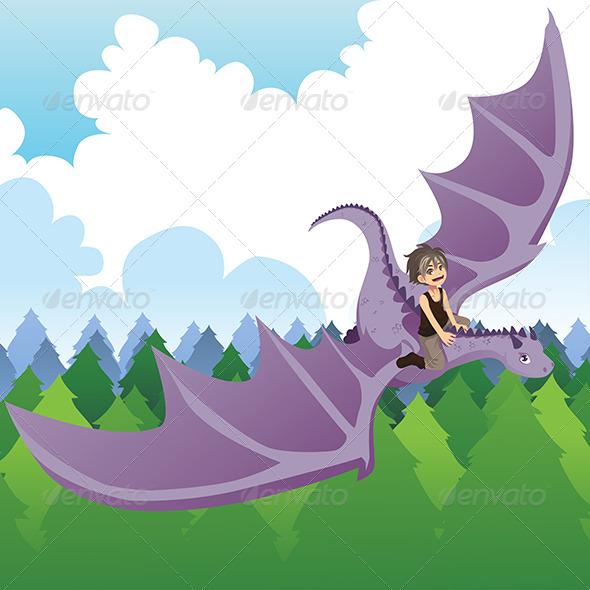 Boy Riding Dragon - Animals Characters