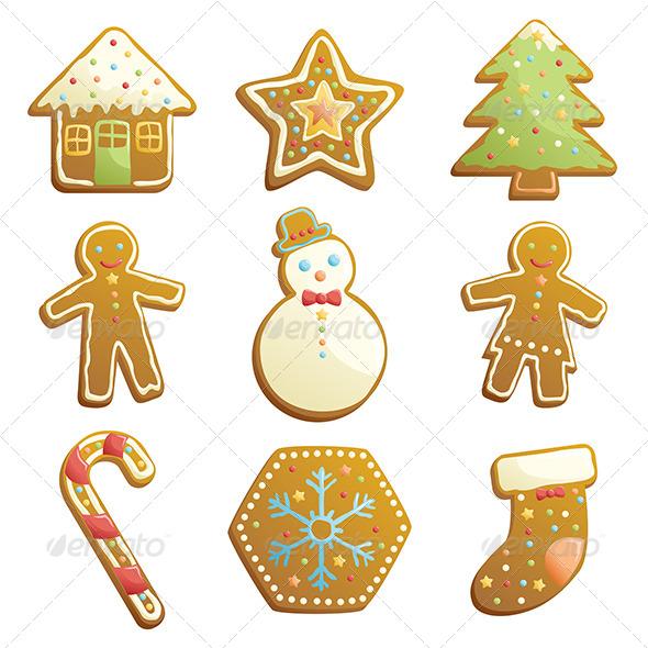 Gingerbread Cookies Icons - Christmas Seasons/Holidays
