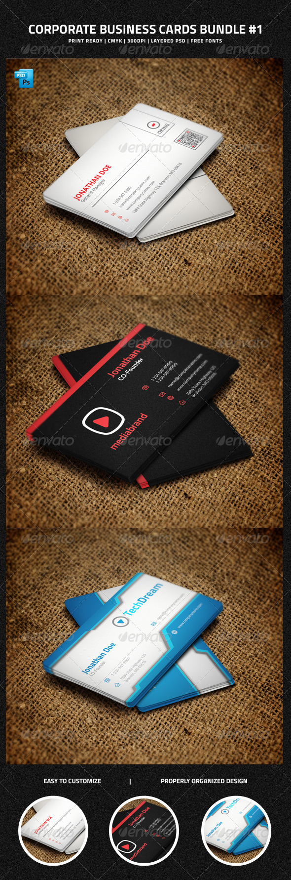 Corporate Business Cards Bundle #1 - Corporate Business Cards