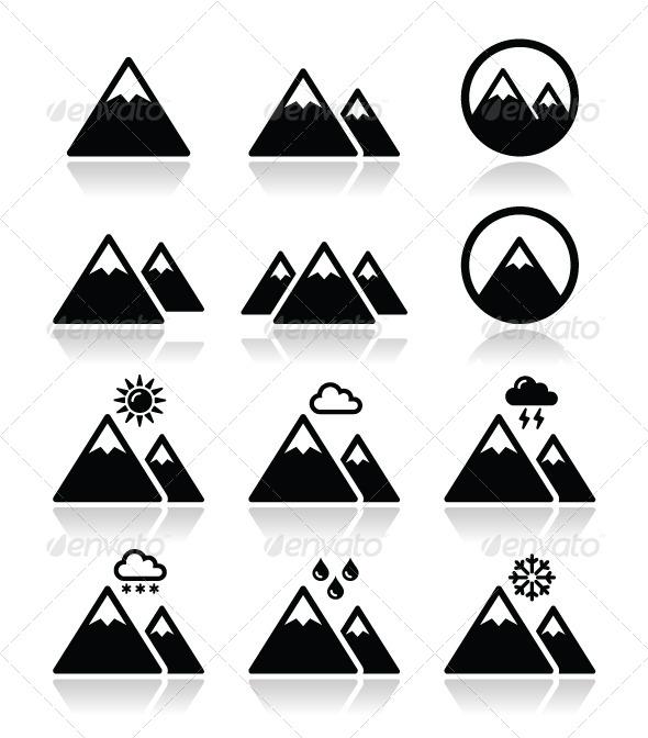 Mountain Icons Set  - Landscapes Nature