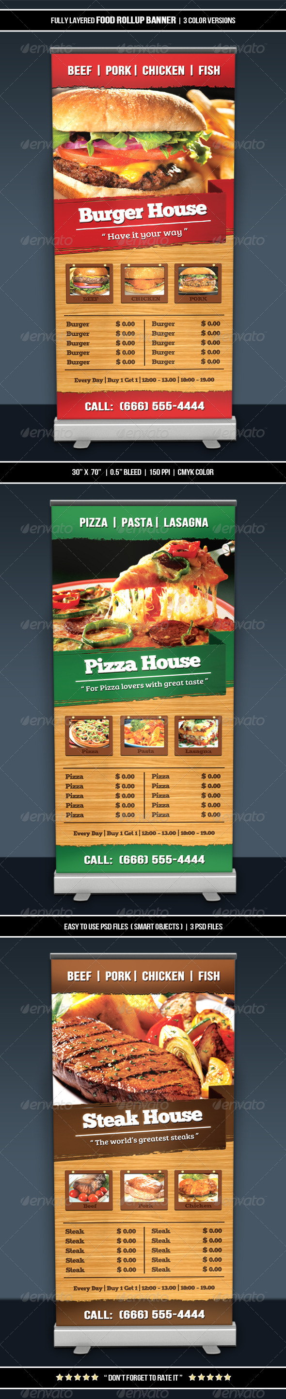 Food Roll-up Banner - Restaurant Flyers