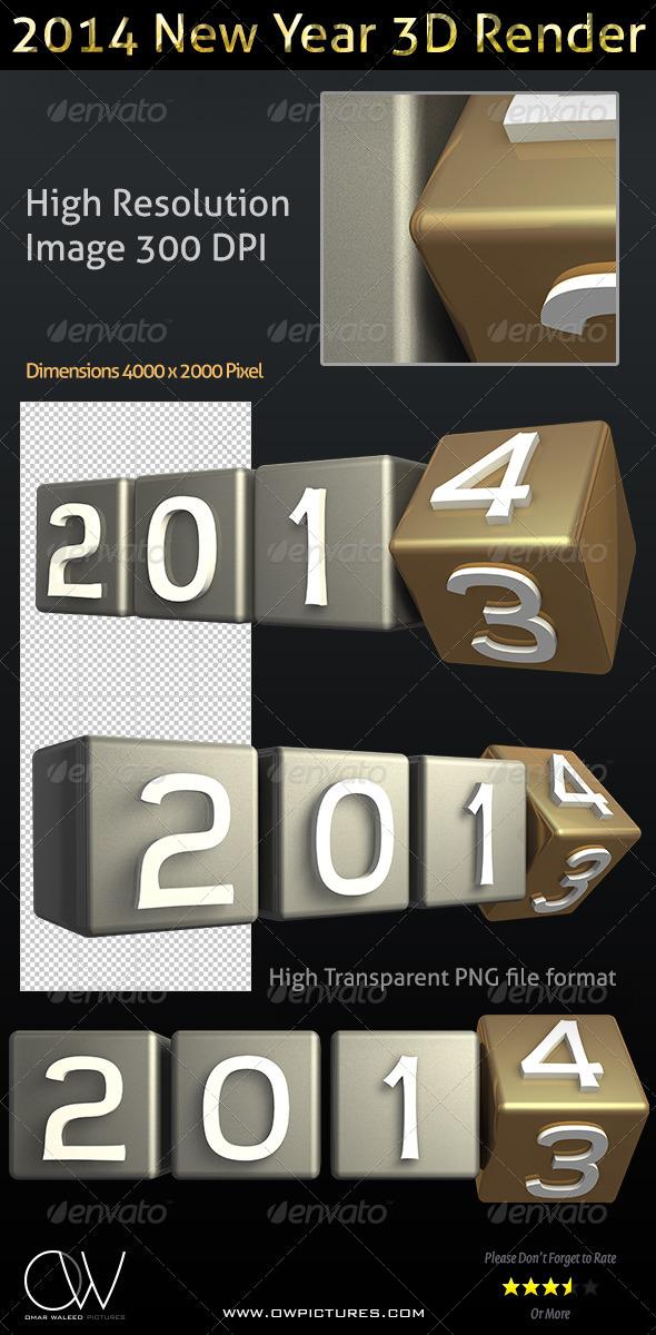 Year 2014 - 3D Render Transparent  - 3D Renders Graphics