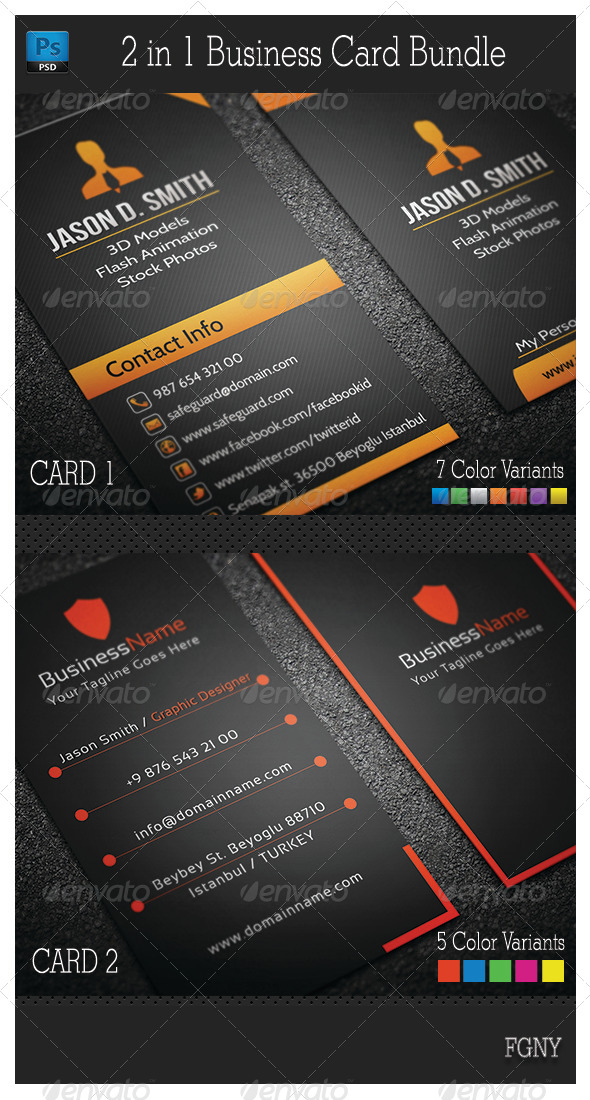 2in1 Business Card Bundle - Corporate Business Cards