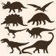 Vector Set of 8 Dinosaurs Silhouettes  - GraphicRiver Item for Sale
