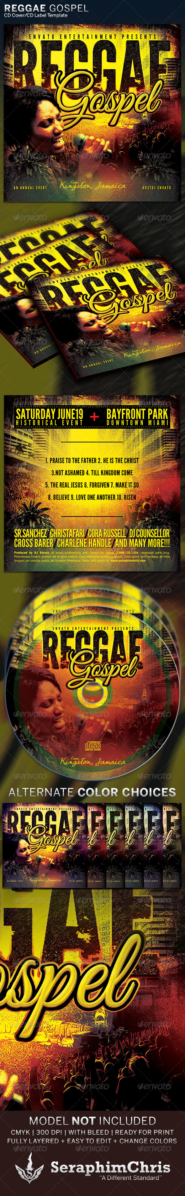 Reggae Gospel : CD Cover Artwork Template - CD & DVD Artwork Print Templates