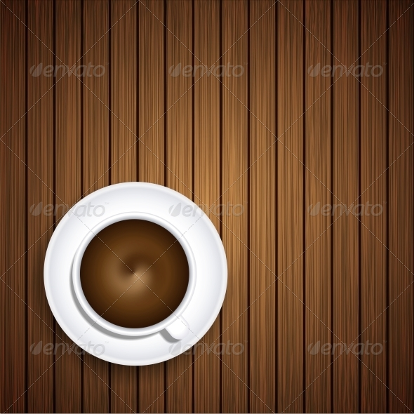 Vector Coffee on Wooden Background - Food Objects