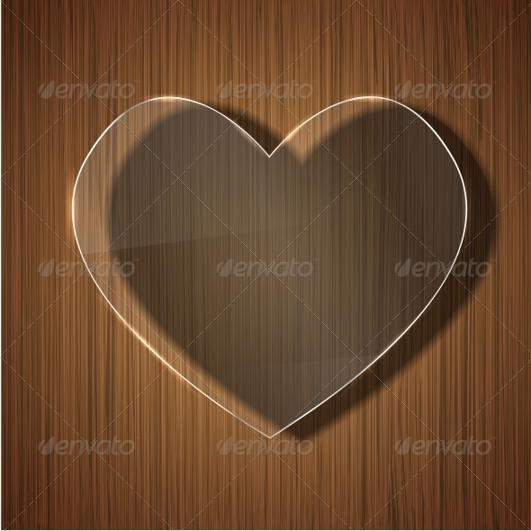 Glass Heart on Wooden Background - Valentines Seasons/Holidays