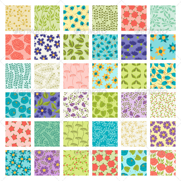 Set of 36 Seamless Floral Patterns - Flowers & Plants Nature