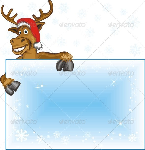 Christmas Reindeer With Blank Page - Animals Characters
