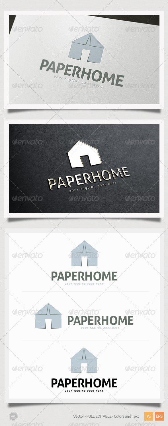 Paper Home Logo - Buildings Logo Templates
