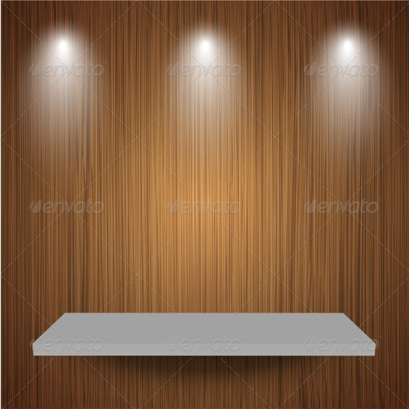 Shelf on Wooden Background - Backgrounds Business