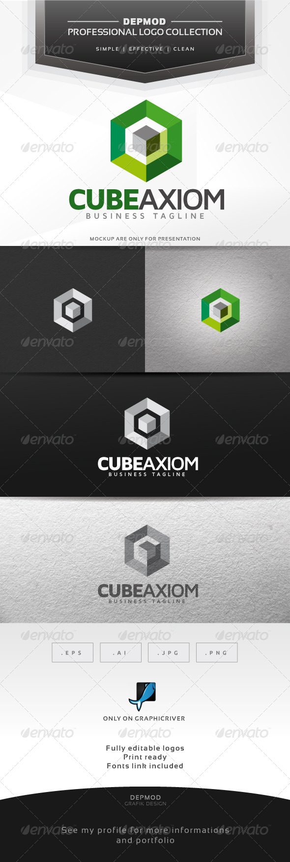 Cube Axiom Logo - Abstract Logo Templates