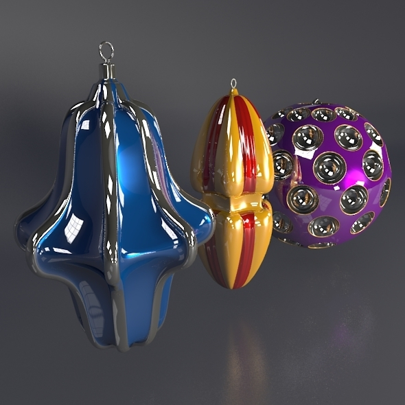 Christmas tree decoration set - 3DOcean Item for Sale