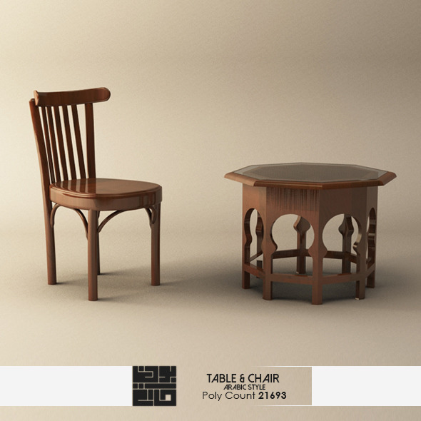 Realistic Arabic Style Table and Chair Model - 3DOcean Item for Sale