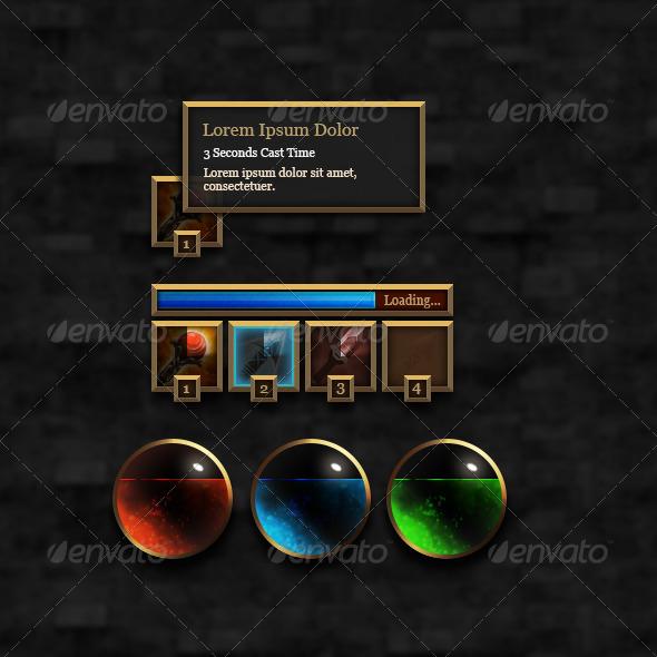 RPG User Interface Elements - Set #1 - User Interfaces Web Elements