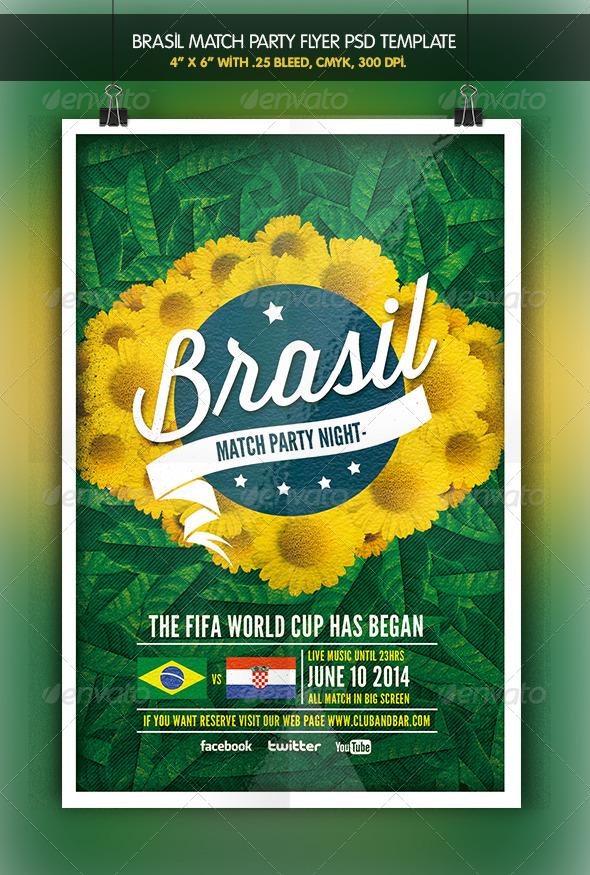 Brazil Match Party | Brazil 2014 Flyer - Clubs & Parties Events