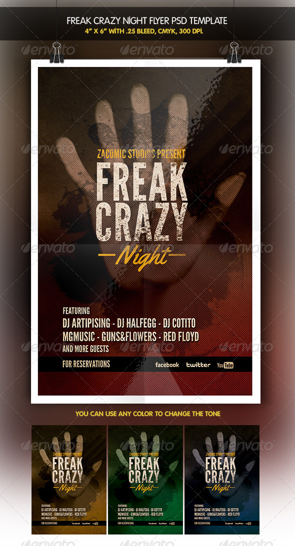 Freak Night Party Flyer - Clubs & Parties Events