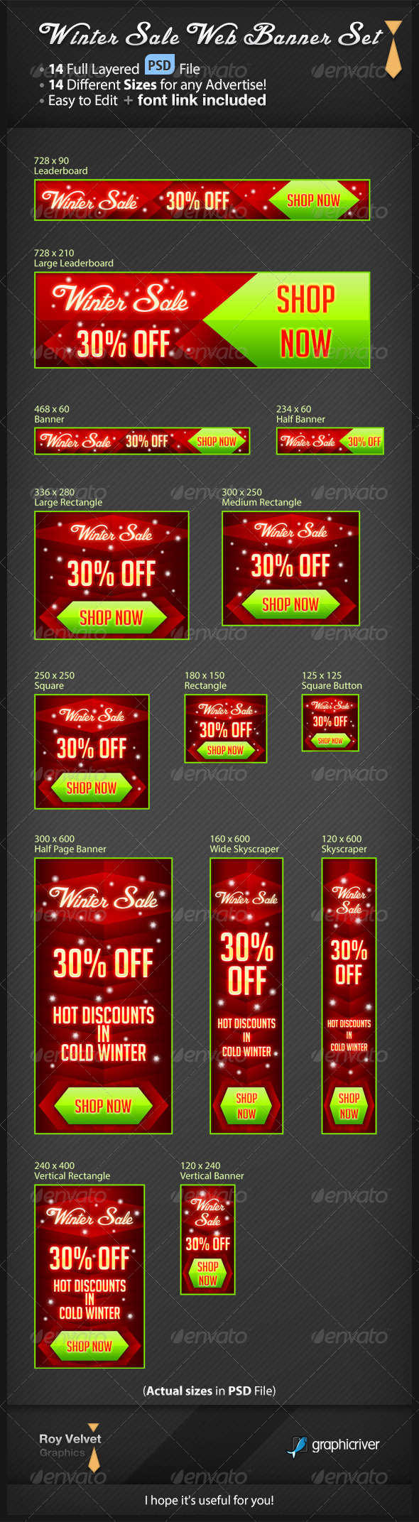 Winter Sale Web Banner Set - Banners & Ads Web Elements