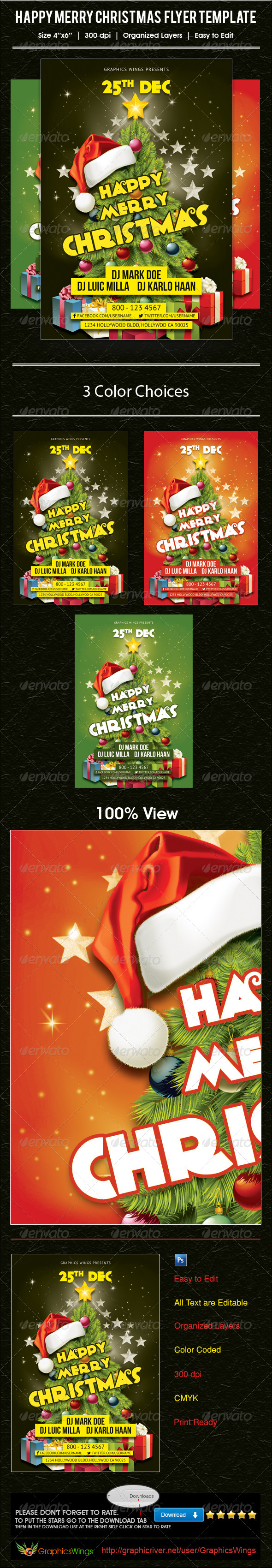 Happy Merry Christmas Flyer Template - Events Flyers