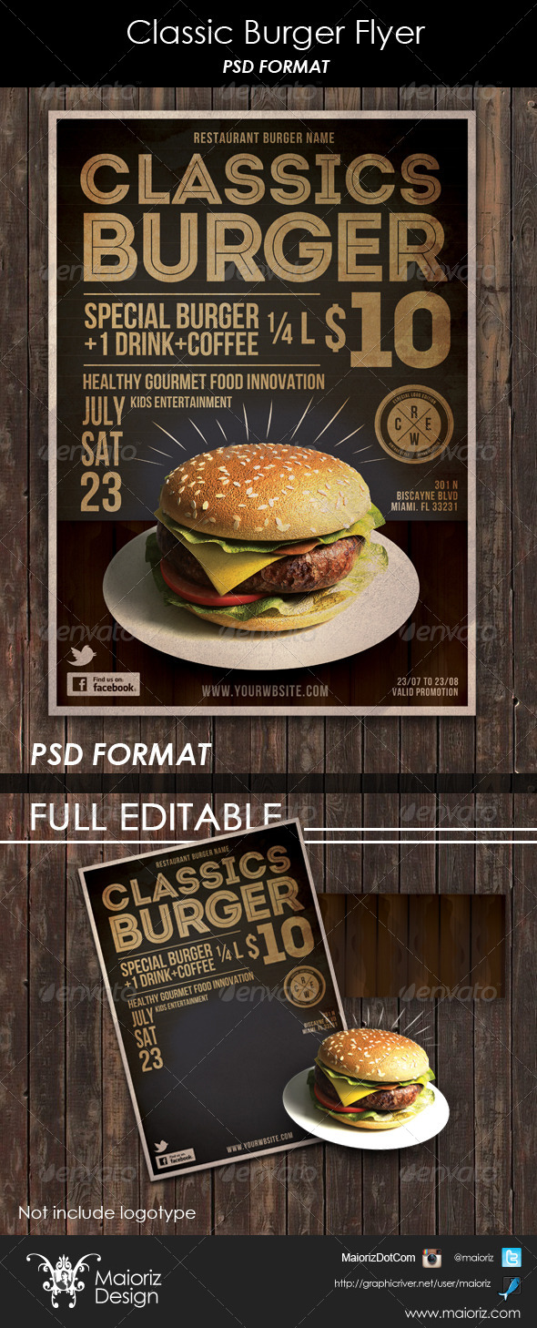 Classic Burger Flyer - Restaurant Flyers