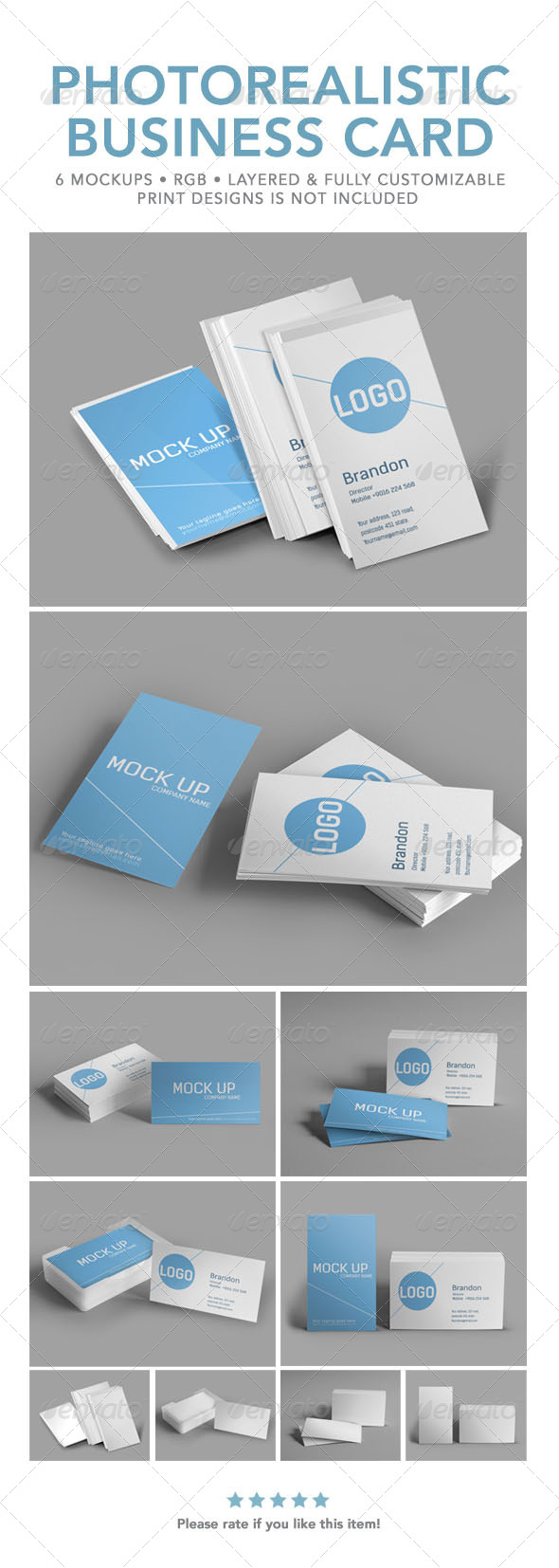Photorealistic Business Card Mock Up - Business Cards Print