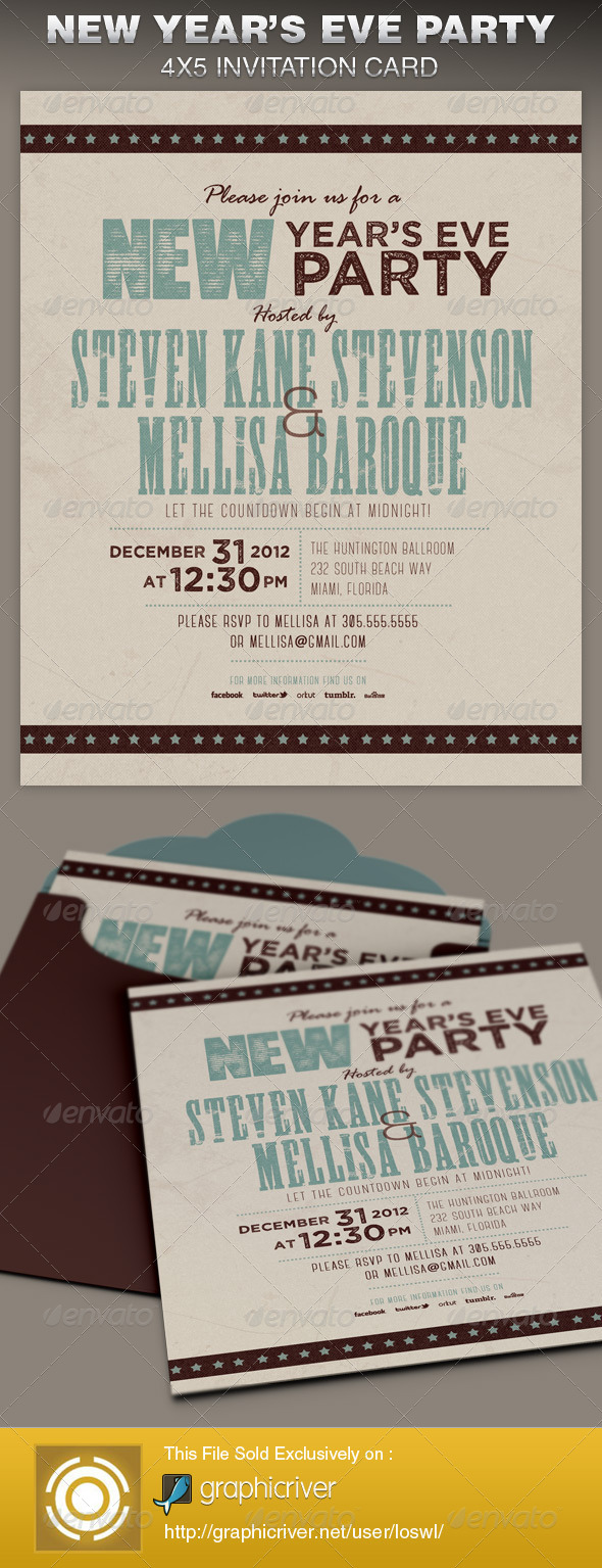 Retro New Year Party Invite Card Template - Cards & Invites Print Templates