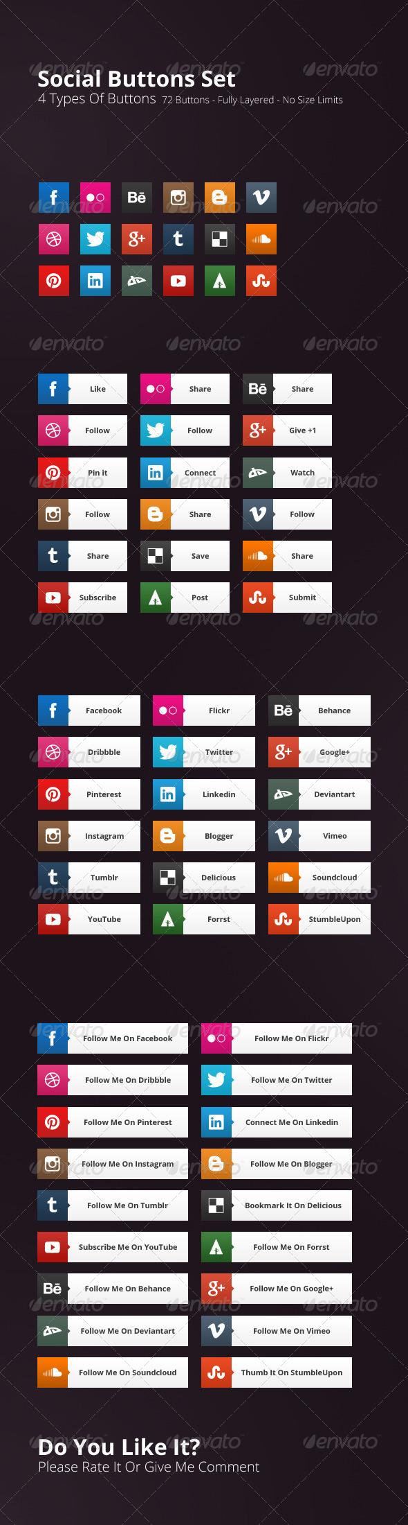72 Social Buttons - Buttons Web Elements