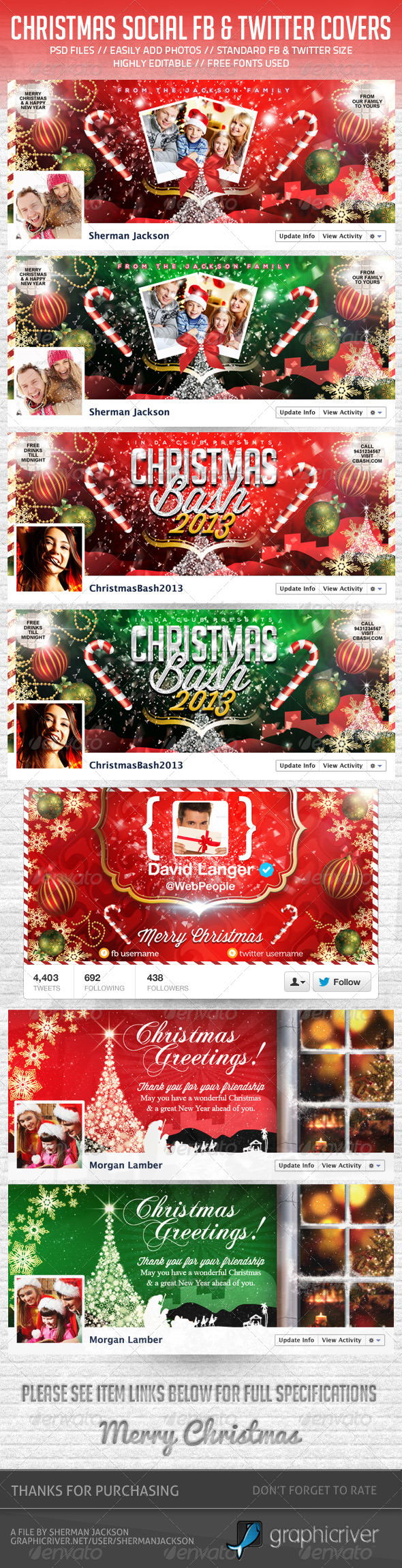 Christmas Social Facebook & Twitter Pack (Bundle) - Social Media Web Elements