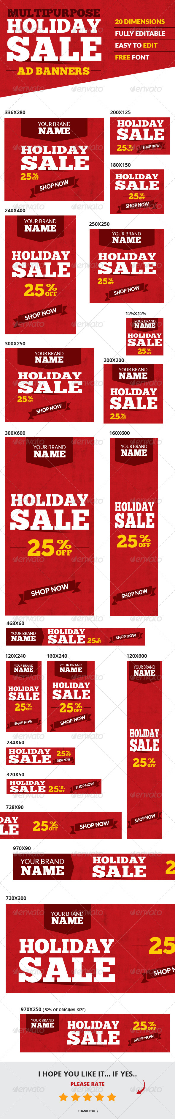 Holiday Sale Web Ad Banners - Multipurpose - Banners & Ads Web Elements