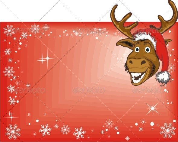 Christmas Reindeer on Blank Sign - Animals Characters