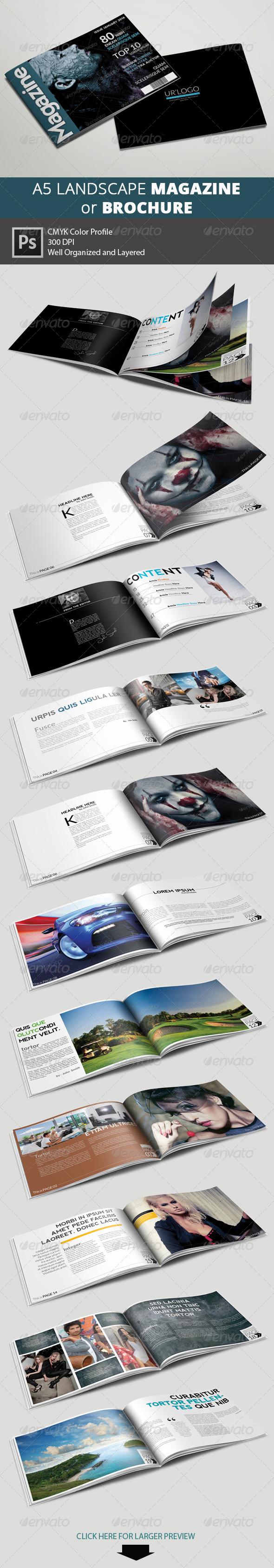 A5 Landscape Magazine - Multipurpose - Magazines Print Templates