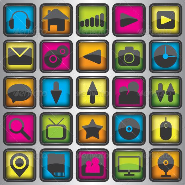 Set of Color Web Icons - Web Elements Vectors